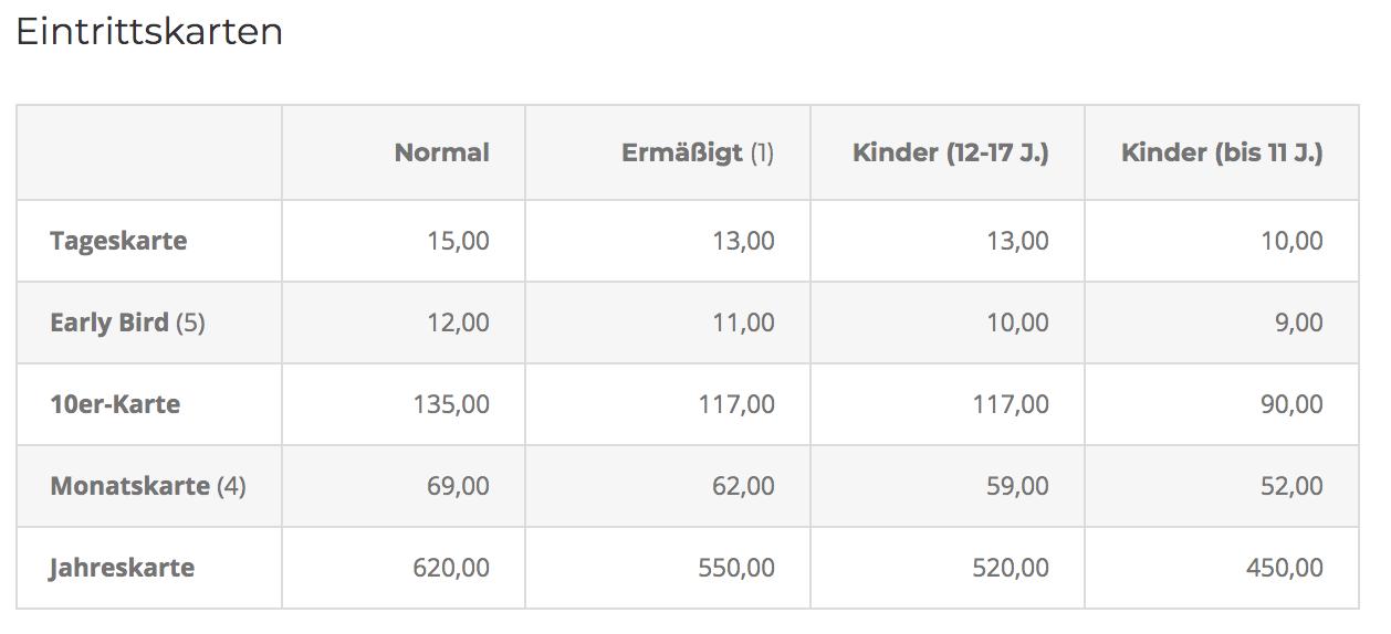 Preise KletterBar Kiel